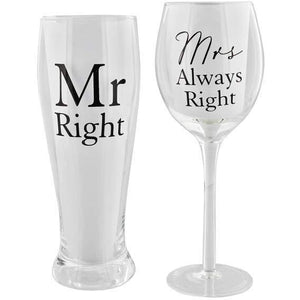 Mr And Mrs Right Pint And Wine Glass Set