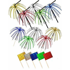 Multi Coloured Foil Pick Straws And Flags 36pc - mypartymonsterstore