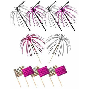Pink And Silver Foil Pick Straws And Flags 36pc - mypartymonsterstore