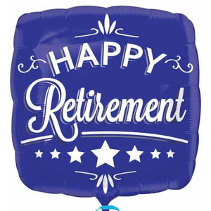 Happy Retirement Blue Foil Balloon