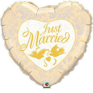 Just Married Ivory and Gold Foil Balloon