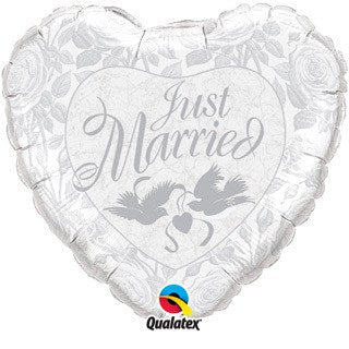 Just Married Pearl White and Silver Foil Balloon