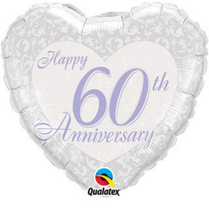 Happy 60th Wedding Anniversary Heart Foil Balloon - mypartymonsterstore
