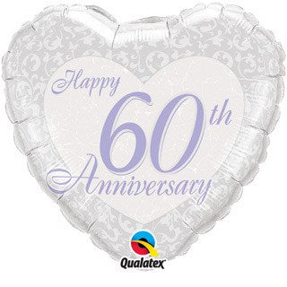 Happy 60th Wedding Anniversary Heart Foil Balloon