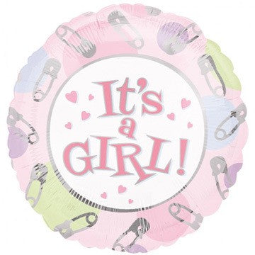 Its a Girl Dots And Pins Foil Balloon