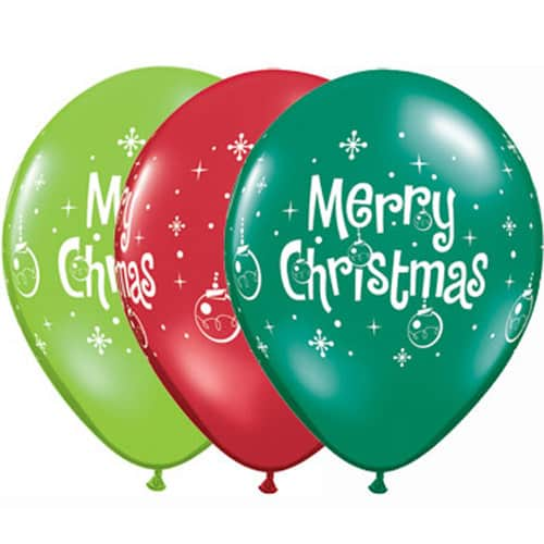 Merry Christmas Ornaments Latex Balloons 25pk