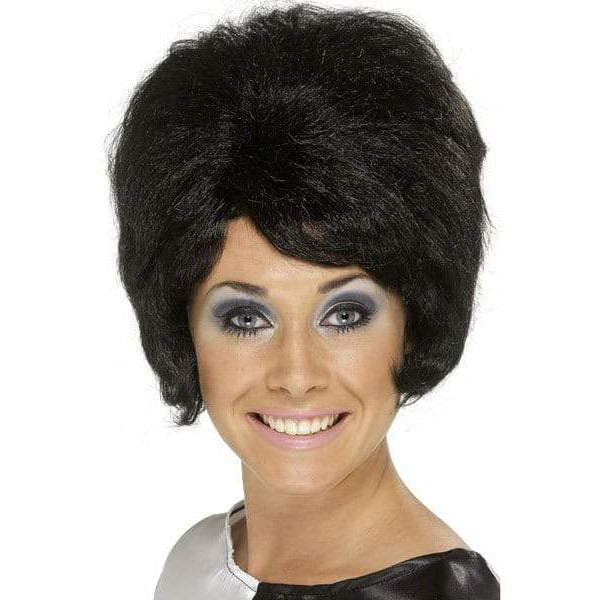 Ladies 60s Black Beehive Wig