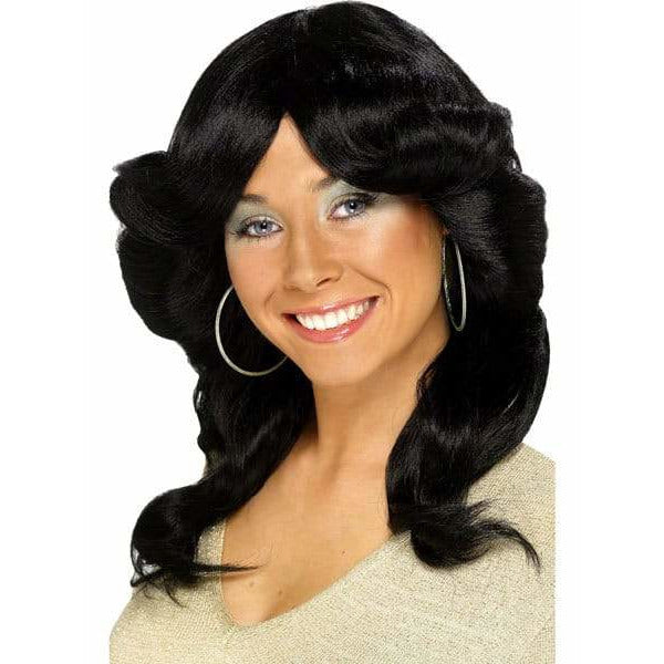 Ladies 70s Black Layered Flick Wig
