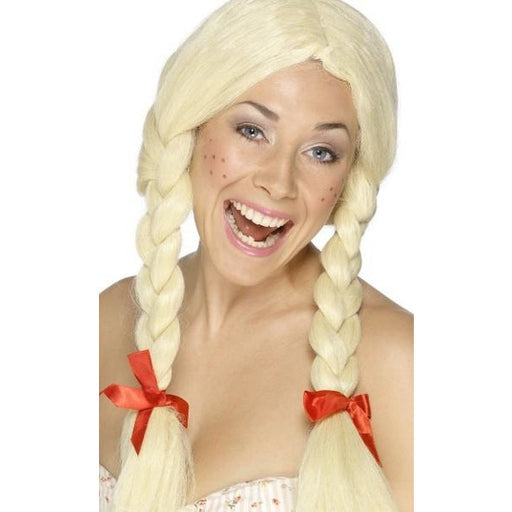 Female Blonde Schoolgirl Wig With Plaits and Ribbons