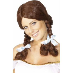 Ladies Brown Plaited Country Girl Wig