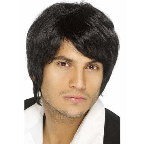 Mens Black Short Styled Boy Band Wigs