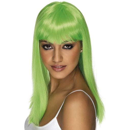 Neon Green Long Straight Wigs With Fringe