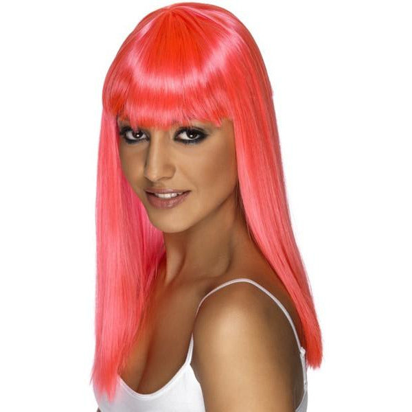 Neon Pink Long Straight Wigs With Fringe