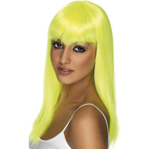Neon Yellow Long Straight Wigs With Fringe