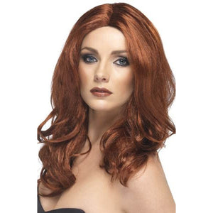 Ladies Auburn Superstar Wigs With Skin Parting