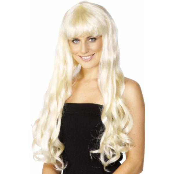 Female Blonde Wavy Paris Wigs With Fringe