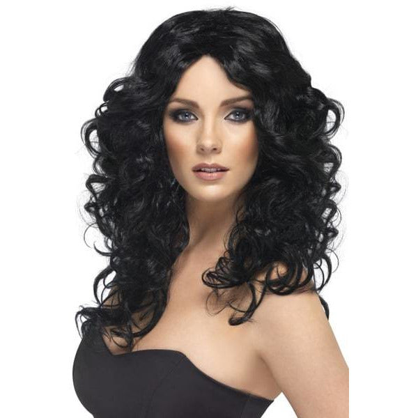 Long Black Curly Ladies Glamour Wigs