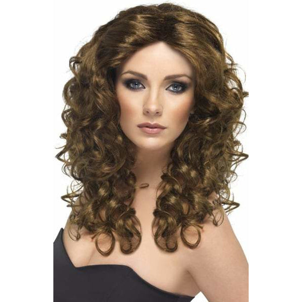 Long Brown Curly Ladies Glamour Wigs