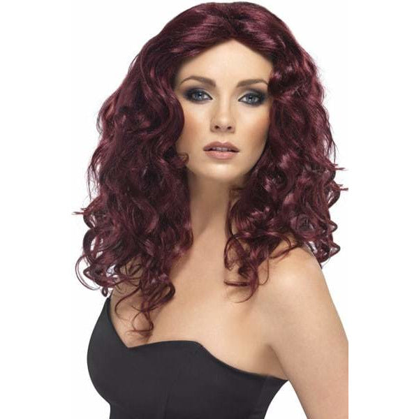 Long Burgundy Curly Ladies Glamour Wigs