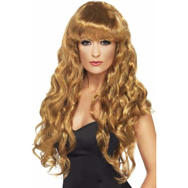 Long Curly Brown Siren Wigs With Fringe