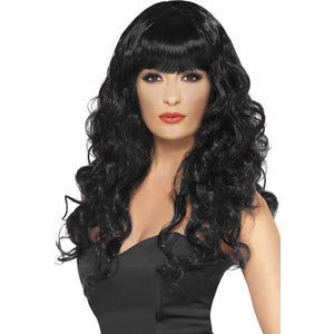Long Curly Black Siren Wigs With Fringe