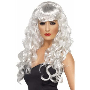 Female Long Curly White Siren Wigs With Fringe