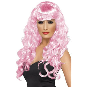 Long Curly Pink Siren Wigs With Fringe - mypartymonsterstore