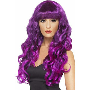 Long Curly Purple and Black Siren Wigs With Fringe