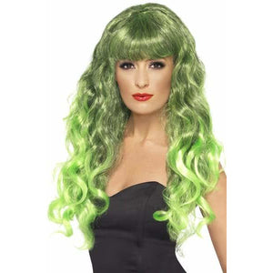 Long Curly Green and Black Siren Wigs With Fringe