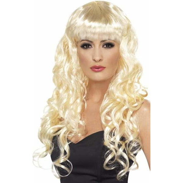 Long Curly Blonde Siren Wigs With Fringe