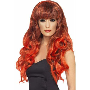 Long Curly Red and Black Siren Wigs With Fringe