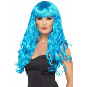 Long Curly Blue Siren Wigs With Fringe