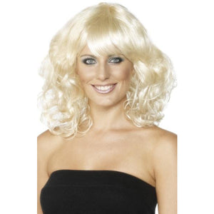 Ladies Blonde Wavy Mid Length Foxy Wigs - mypartymonsterstore