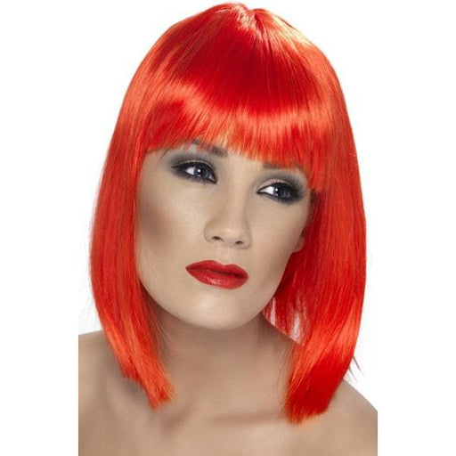 Ladies Neon Red Glam Wigs With Fringe