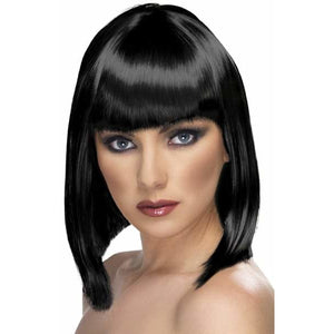 Ladies Black Glam Wigs With Fringe