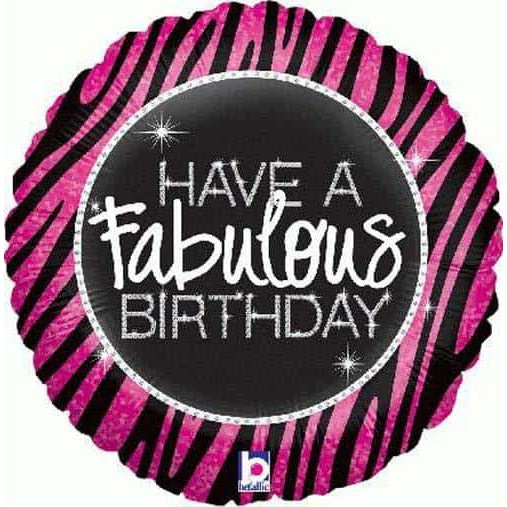 Have A Fabulous Birthday Zebra Foil Balloon