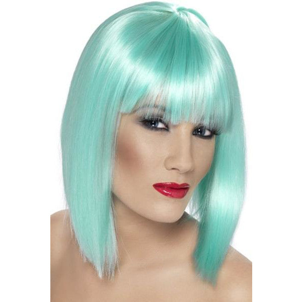 Ladies Neon Aqua Glam Wigs With Fringe