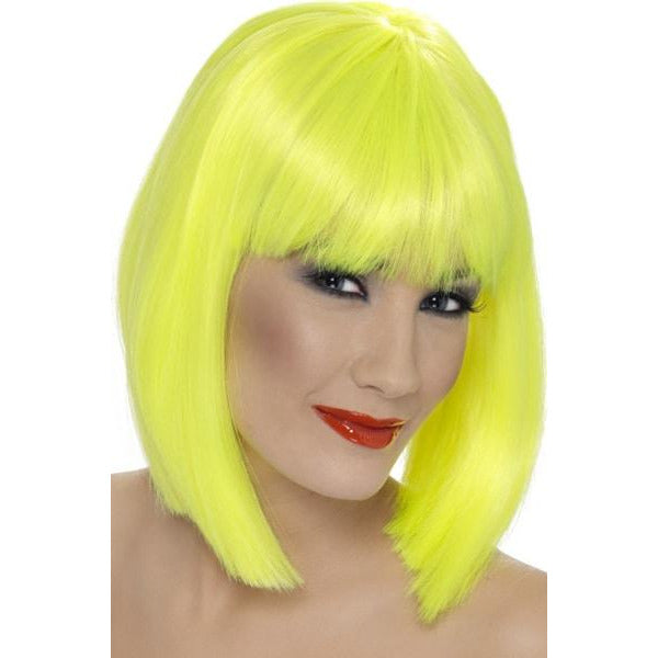 Ladies Neon Yellow Glam Wigs With Fringe