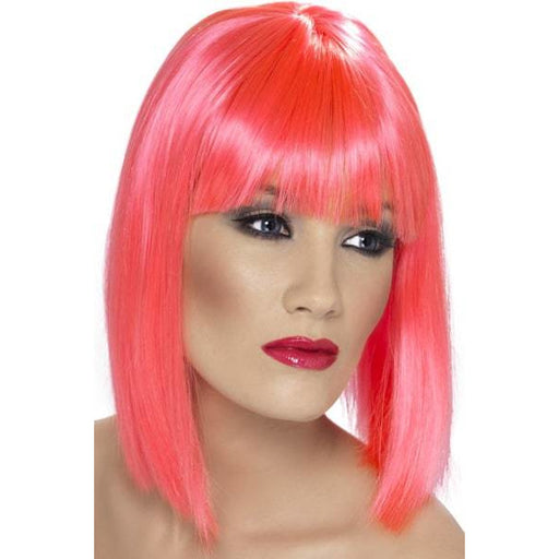 Ladies Neon Pink Glam Wigs With Fringe