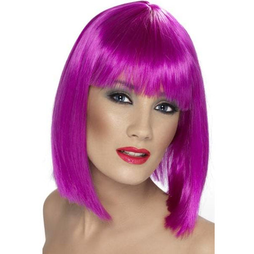 Ladies Neon Purple Glam Wigs With Fringe