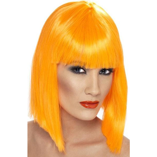 Ladies Neon Orange Glam Wigs With Fringe