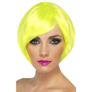 Neon Yellow Short Female Babe Bob Wigs With Fringe