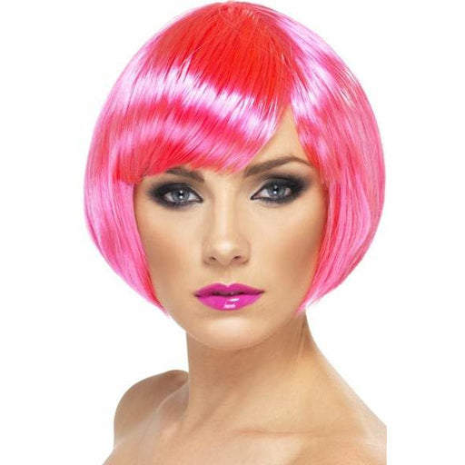 Neon Pink Short Female Babe Bob Wigs With Fringe