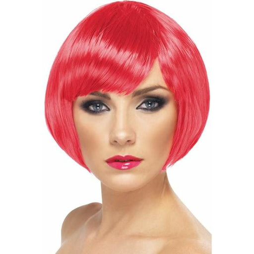 Fuchsia Pink Short Female Babe Bob Wigs With Fringe