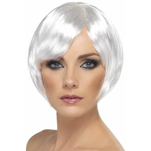 White Short Female Babe Bob Wigs With Fringe