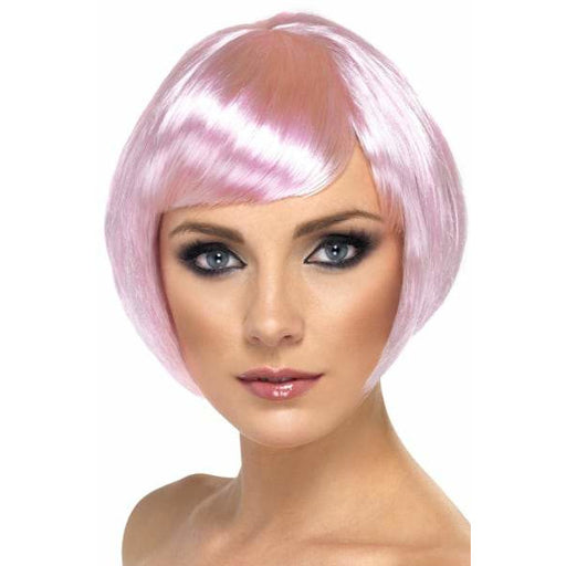 Light Pink Short Female Babe Bob Wigs With Fringe
