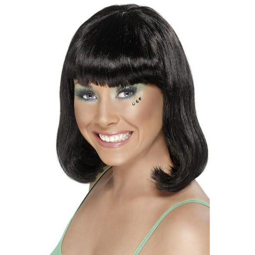 Ladies Black Party Wigs With Fringe