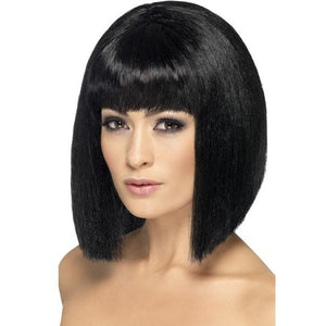 Ladies Short Black Coquette Wigs With Fringe