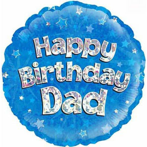 Happy Birthday Dad Blue Holographic Balloon - mypartymonsterstore
