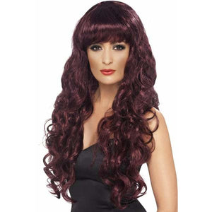 Long Curly Maroon Siren Wigs With Fringe - mypartymonsterstore